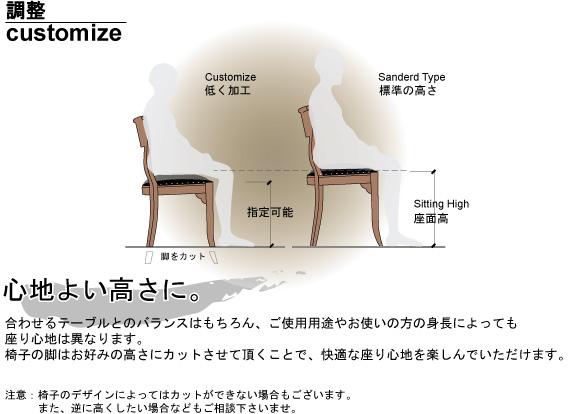 椅子 高さ調整 加工 カスタマイズ